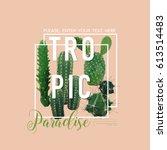 vintage tropical summer cactus... | Shutterstock .eps vector #613514483