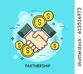 handshake and dollar coins.... | Shutterstock .eps vector #613516973