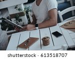 using technologies. close up of ...   Shutterstock . vector #613518707