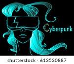vector cyberpunk hi tech... | Shutterstock .eps vector #613530887