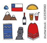 doodle icons. chile. chilean... | Shutterstock .eps vector #613539083