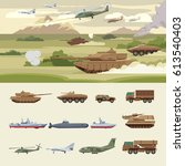 military transport concept with ... | Shutterstock .eps vector #613540403