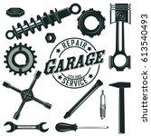 vintage mechanic tools set with ... | Shutterstock .eps vector #613540493