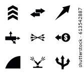 arrows icons set. set of 9...