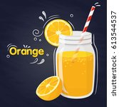 orange smoothie in a jar with a ... | Shutterstock .eps vector #613544537