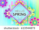 paper flowers and decorative... | Shutterstock .eps vector #613544873