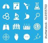 biology icons set. set of 16... | Shutterstock .eps vector #613555703