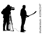 cameraman with video camera.... | Shutterstock .eps vector #613562147