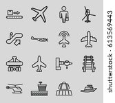 passenger icons set. set of 16... | Shutterstock .eps vector #613569443