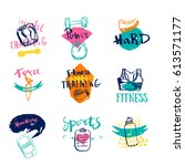 set of sports and fitness logo...   Shutterstock .eps vector #613571177