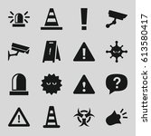 attention icons set. set of 16... | Shutterstock .eps vector #613580417