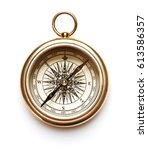 vintage compass isolated on... | Shutterstock . vector #613586357