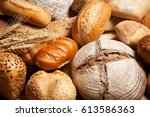 assorted bread and pastry | Shutterstock . vector #613586363