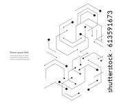 Hexagons genetic, science, chemical carcass. Vector connection and social network. Concept with lines and dots. | Shutterstock vector #613591673