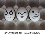 eggs with faces photo for your... | Shutterstock . vector #613598207