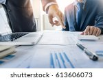 Small photo of Administrator business man financial inspector and secretary making report, calculating or checking balance. Internal Revenue Service inspector checking document. Audit concept.