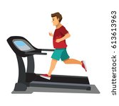 man running on a treadmill.... | Shutterstock .eps vector #613613963