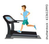 man running on a treadmill.... | Shutterstock .eps vector #613613993