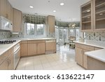 kitchen in suburban home with... | Shutterstock . vector #613622147
