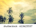 coconut tree over blue sky   ... | Shutterstock . vector #613625537