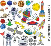 space elements set  collection... | Shutterstock .eps vector #613630643