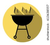 barbecue simple sign. vector.... | Shutterstock .eps vector #613638557