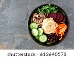 healthy vegetarian salad bowl... | Shutterstock . vector #613640573