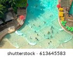 top view of water park with... | Shutterstock . vector #613645583