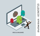 computer attacked by virus and... | Shutterstock .eps vector #613653713