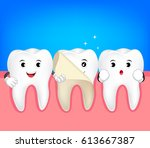 teeth whitening symbol. cute... | Shutterstock .eps vector #613667387