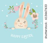 happy easter background design. ... | Shutterstock .eps vector #613667633