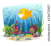 illustration of an underwater... | Shutterstock .eps vector #613672007