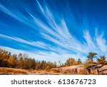 indian summer in old pinawa... | Shutterstock . vector #613676723