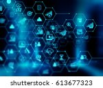 fintech icon  on abstract... | Shutterstock . vector #613677323