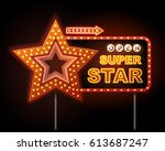 neon sign of disco star and... | Shutterstock .eps vector #613687247