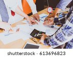 business people brainstorming... | Shutterstock . vector #613696823