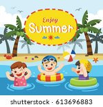 happy kids play and swim at the ... | Shutterstock .eps vector #613696883