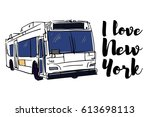 new york bus illustration.... | Shutterstock .eps vector #613698113