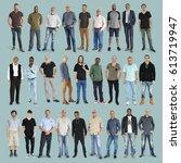 diversity people set gesture... | Shutterstock . vector #613719947