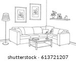 living room graphic black white ... | Shutterstock .eps vector #613721207