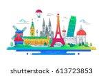 european countries   modern... | Shutterstock .eps vector #613723853