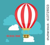 hot air balloon in the sky with ...   Shutterstock .eps vector #613725023