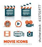 set of movie show icons  vector ... | Shutterstock .eps vector #613731977