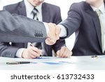 handshake of business partners...   Shutterstock . vector #613732433