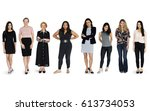 diversity women set gesture...   Shutterstock . vector #613734053