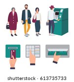 people queue near atm.... | Shutterstock .eps vector #613735733
