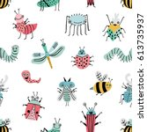 seamless pattern with funny bug.... | Shutterstock .eps vector #613735937