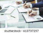 closeup of business team is...   Shutterstock . vector #613737257