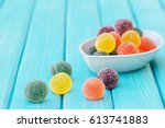 colorful candy and jelly sweet  ... | Shutterstock . vector #613741883