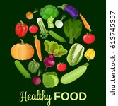 healthy vegetables and... | Shutterstock . vector #613745357